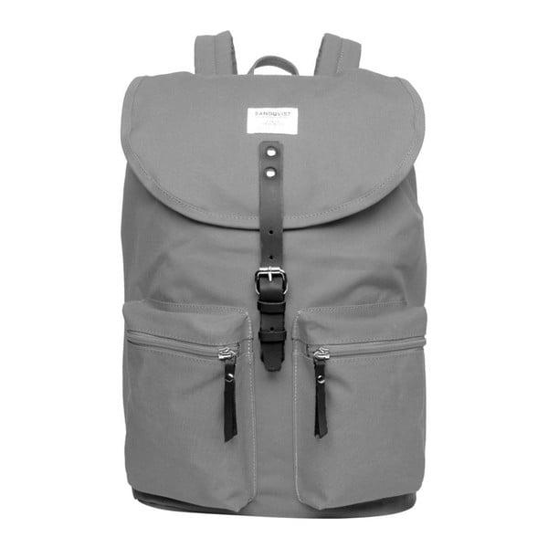 Szary plecak ze skórzanymi detalami Sandqvist Roald