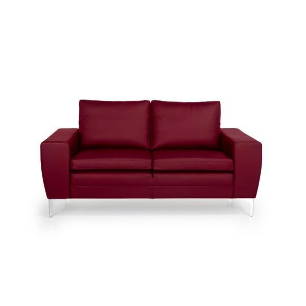 Červená kožená dvoumístná pohovka Softnord Twigo