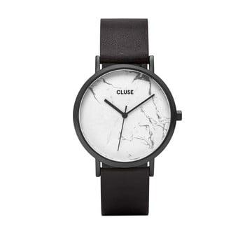 Ceas damă, curea din piele Cluse La Roche, negru-alb imagine