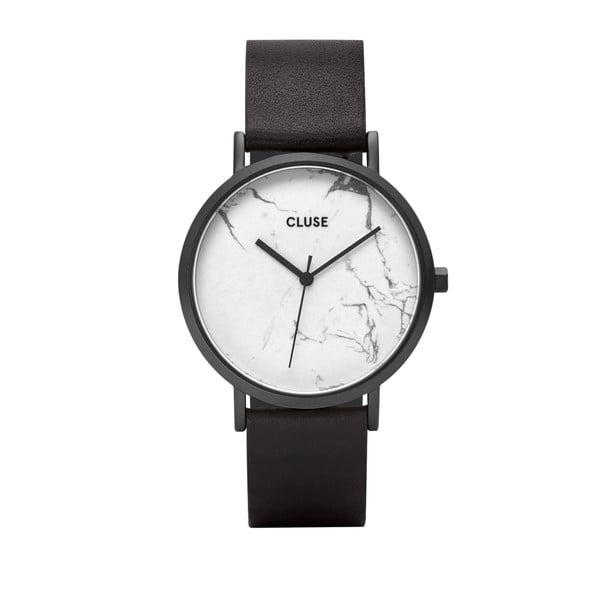 Dámske hodinky s čiernym koženým remienkom a bielym mramorovým ciferníkom Cluse La Roche