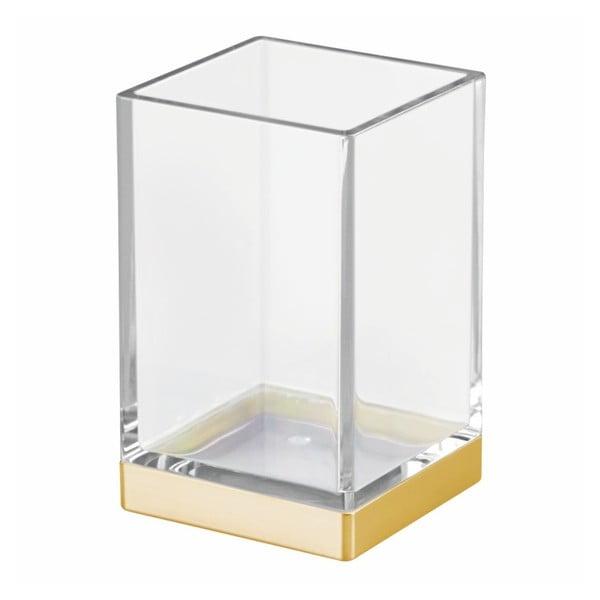 Cană din plastic pentru baie cu detalii aurii InterDesign