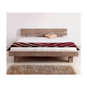 Pat dublu din lemn de palisandru Massive Home Riva II, 180 x 200 cm