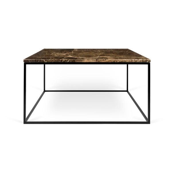 Brązowy stolik marmurowy z czarnymi nogami TemaHome Gleam, 75x75 cm