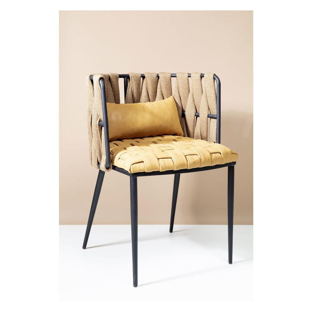 Set 4 žluto-černých židlí s polštářem Kare Design Cheerio