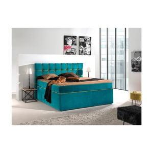Tyrkysovožlutá dvoulůžková boxspring postel Sinkro Play Safe, 200x200cm