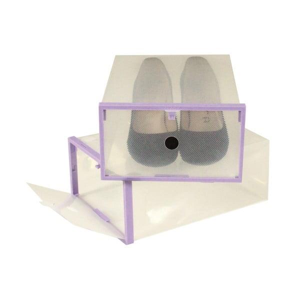 Sada 2 krabic na boty s fialovým lemem Jocca, 28x20,7cm
