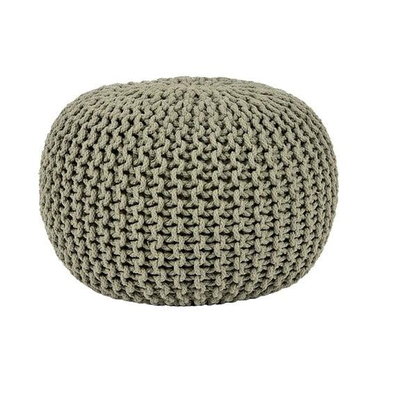 Knitted olívaszínű fonott puff, Ø 50 cm - LABEL51