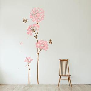 Samolepka na stěnu Květy a motýl, 60x90 cm