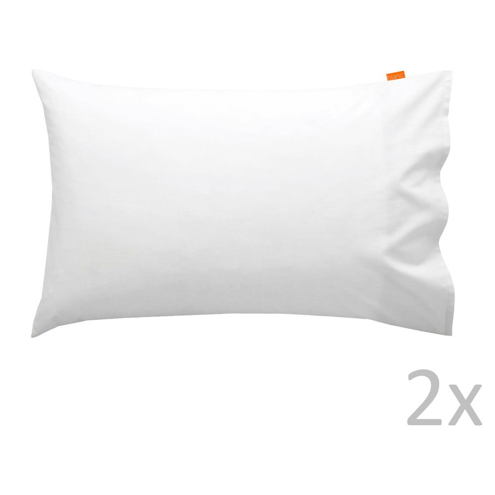 Sada 2 bavlněných bílých povlaků na polštář HF Living Basic, 50x80cm