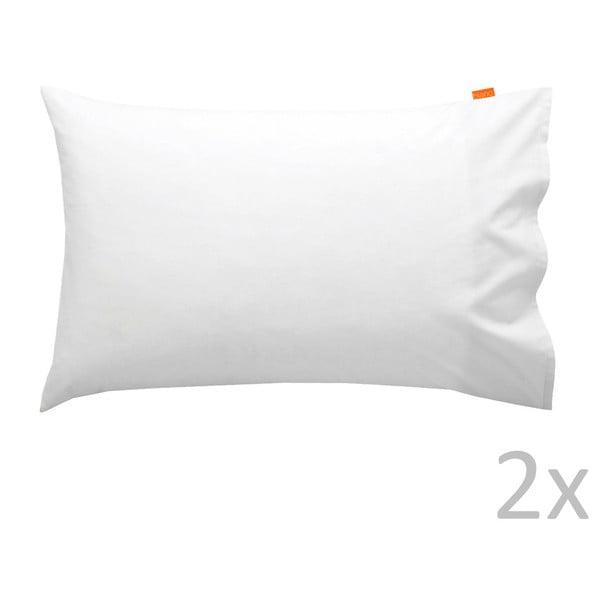 Zestaw 2 białych bawełnianych poszewek na poduszki Happy Friday Basic, 50x75 cm