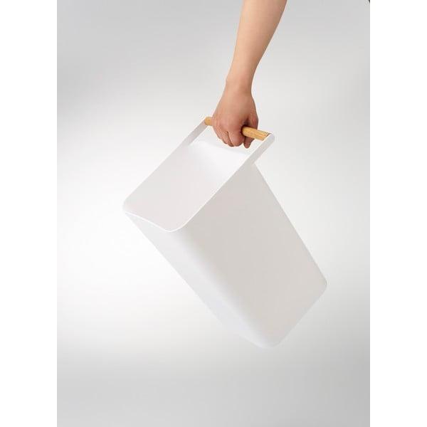 Bílý koš na papíry s detailem z bukového dřeva YAMAZAKI Como, 9,5 l