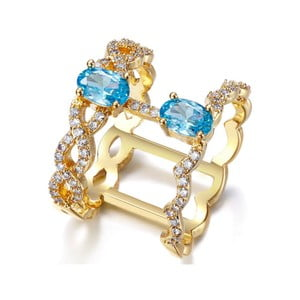 Prsten s bílými a modrými krystaly Swarovski Elements Crystals Tropic, ø16mm