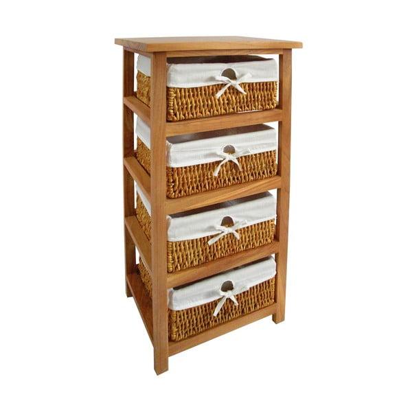 Police s úložnými košíky Honey, 4 šuplíky