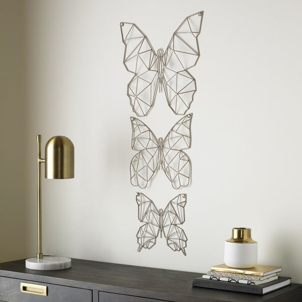 Sada 3 kovových nástěnných dekorací Graham & Brown Flutter