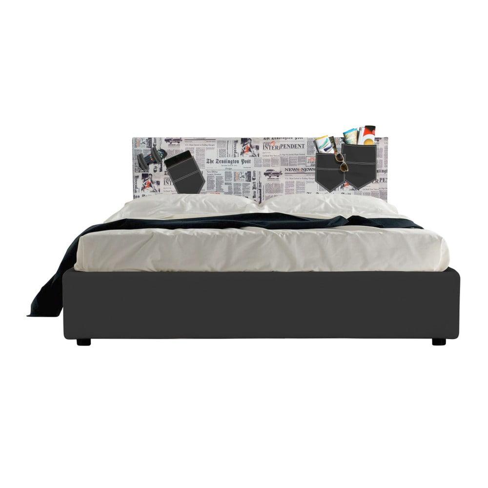 Černá dvoulůžková postel s úložným prostorem a matrací 13Casa Task News, 160 x 200 cm