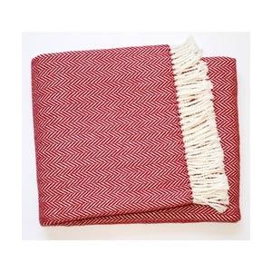 Burgundově červený pléd s podílem bavlny Euromant Skyline, 140x180cm