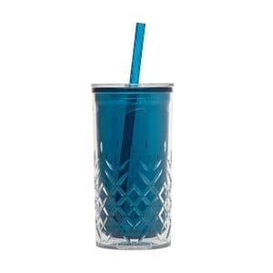 Pahar cu pai, din plastic Aladdin, 470 ml, albastru