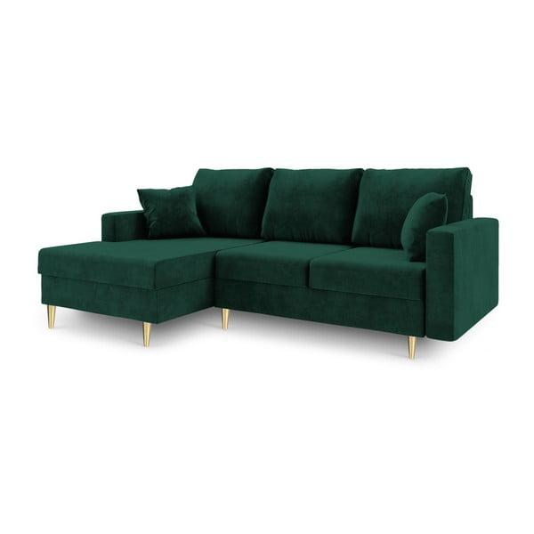 Canapea extensibilă cu 4 locuri și spațiu de depozitare Mazzini Sofas Muguet, pe partea stângă, verde