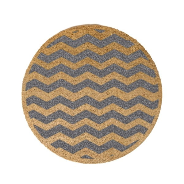Covor intrare rotund Artsy Doormats Grey Chevron, ⌀ 70 cm