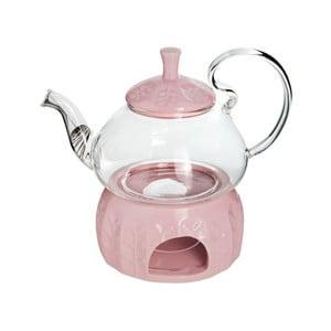 Skleněná čajová konvička s ohřívačem na čajovou svíčku Tasev, objem 600 ml