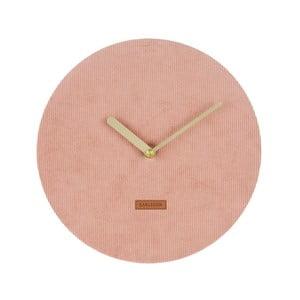 Růžové nástěnné hodiny s manšestrem Karlsson Corduroy, ⌀25 cm