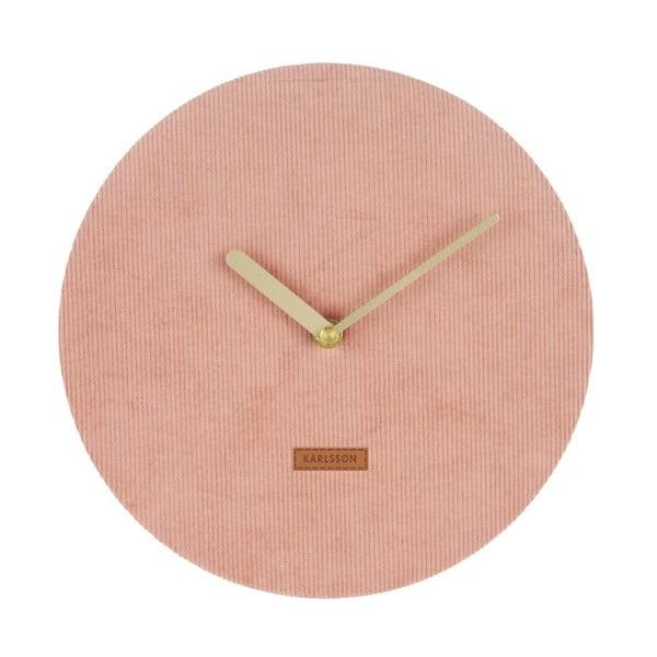 Ružové nástenné hodiny s menčestrom Karlsson Corduroy, Ø 25 cm