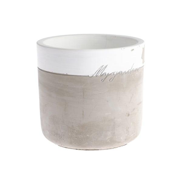 Ghiveci din beton Dakls My Garden, înălțime 11,5 cm, gri-alb