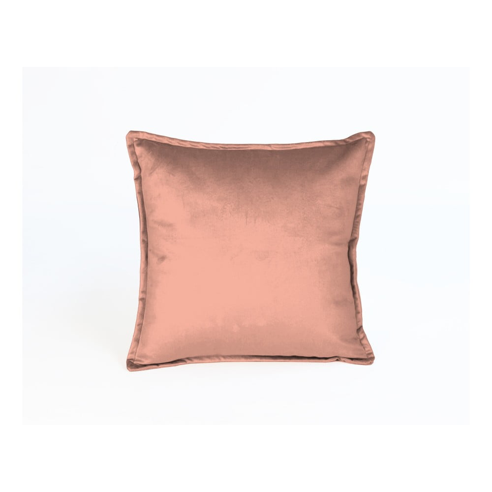 Lososově růžový dekorativní polštář Velvet Atelier, 45 x 45 cm