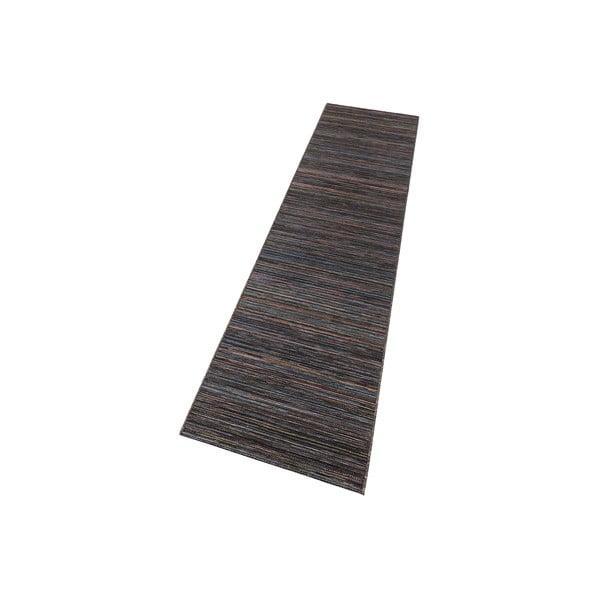 Tmavě hnědý koberec vhodný i na ven Lotus, 80x240cm