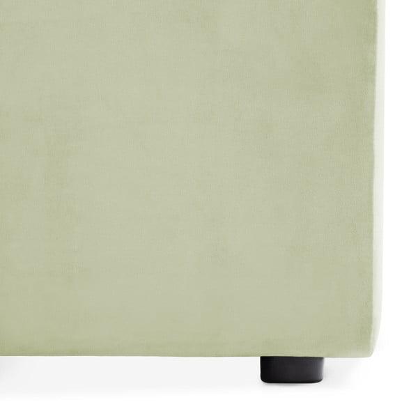 Světle zelená třímístná modulová pohovka s podnožkou Vivonita Velvet Cube