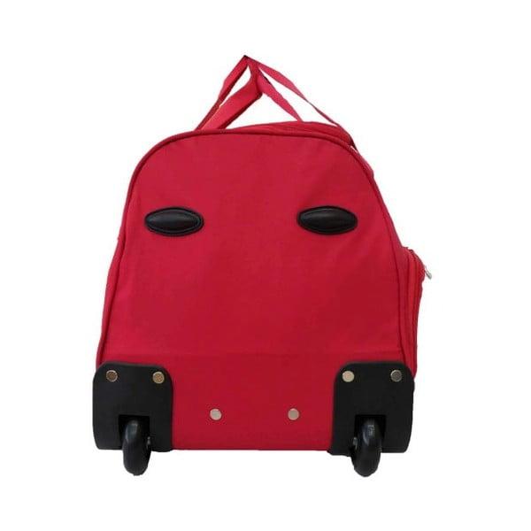 Červená cestovní taška na kolečkách Hero Roulette,65l