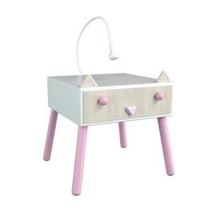 Noční stolek s růžovými detaily Dotties Kočička