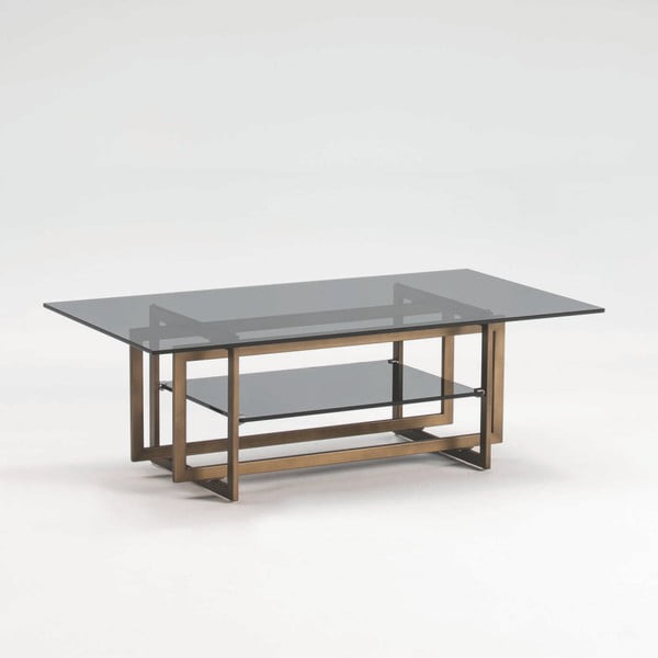 Konferenční stolek z kouřového skla a kovu bronzové barvy Thai Natura, 120 x 40 cm