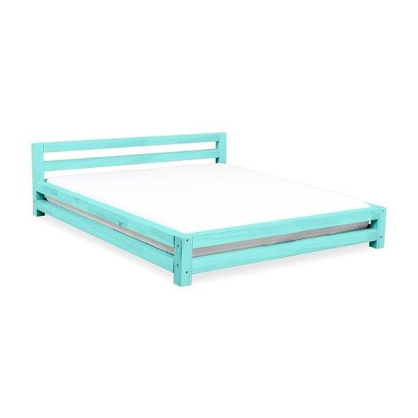 Tyrkysová dvojlôžková posteľ zo smrekového dreva Benlemi Double, 200 × 200 cm