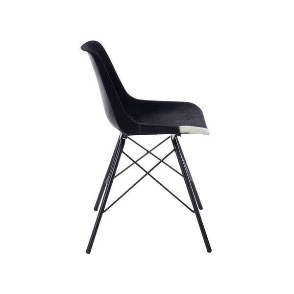 Židle s koženým potahem Cross, černobílá