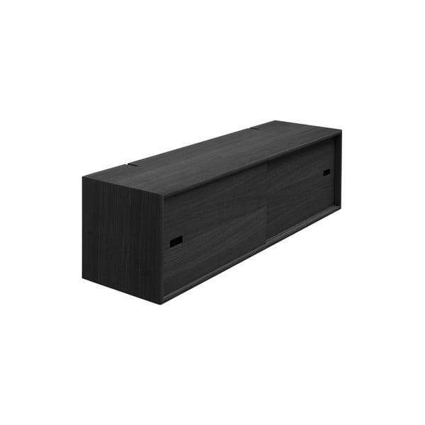 Černá nástěnná skříň k policovým dílům Less WOOD AND VISION Cabinet, 96 x 26 cm