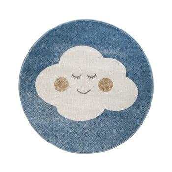 Covor rotund KICOTI Cloud, ø 133 cm, albastru-alb de la KICOTI