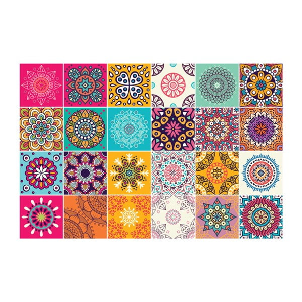 Sada 24 samolepek na nábytek Ambiance Tiles Stickers For Furniture Coralina, 20 x 20 cm
