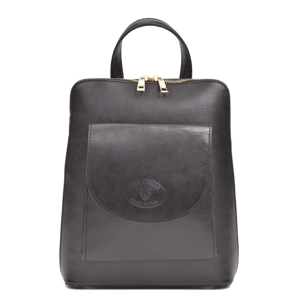 Černý kožený batoh Anna Luchini Zunna ... 3cb3c4c855