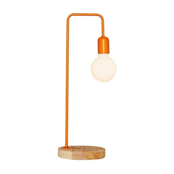 Oranžová stolní lampa s dřevěným podstavcem Valetta