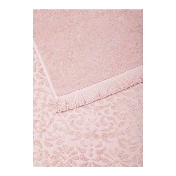 Sada 2 růžových bavlněných osušek Casa Di Bassi Riad, 70 x 140 cm