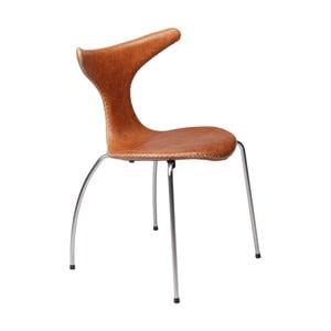 Hnědá kožená jídelní židle s kovovým podnožím DAN–FORM Dolphin