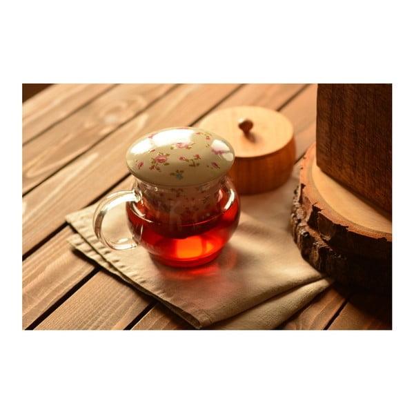 Sklěněný hrnek s čajovým sítkem Tasev, 500 ml