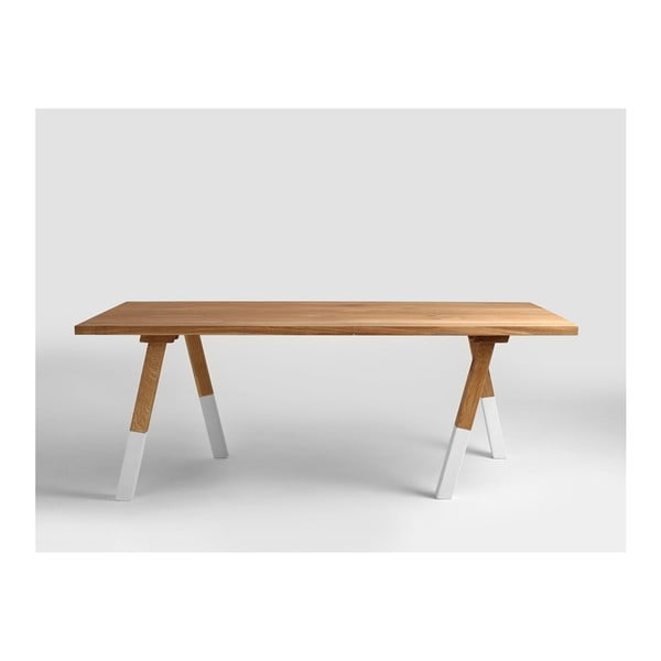 Masă dining cu blat din lemn de stejar Custom Form Wolker, lungime 200 cm