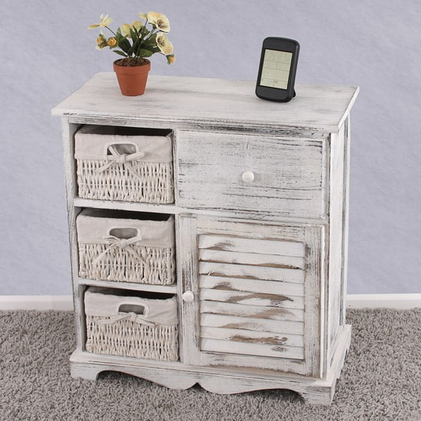 Bílá dřevěná komoda s košíky a zásuvkou Mendler Shabby