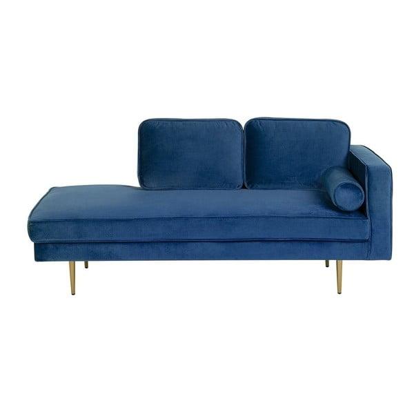 Șezlong cu tapițerie din catifea și șezut pe partea dreaptă Monobeli Tia, albastru marin