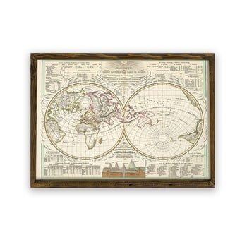 Tablou cu ramă din lemn World, 70 x 50 cm