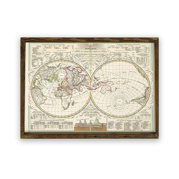 Obraz v dřevěném rámu World, 70 x 50 cm
