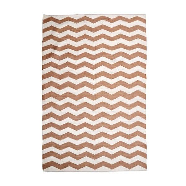 Bavlněný koberec Chevron Ivory/Beige, 160x230 cm