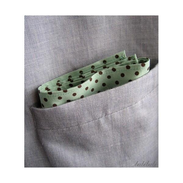 Světle zelený kapesníček do saka s hnědými puntíky